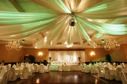 Reception, Flowers & Decor, yellow, green, Swag, Ceiling, One sweet affair