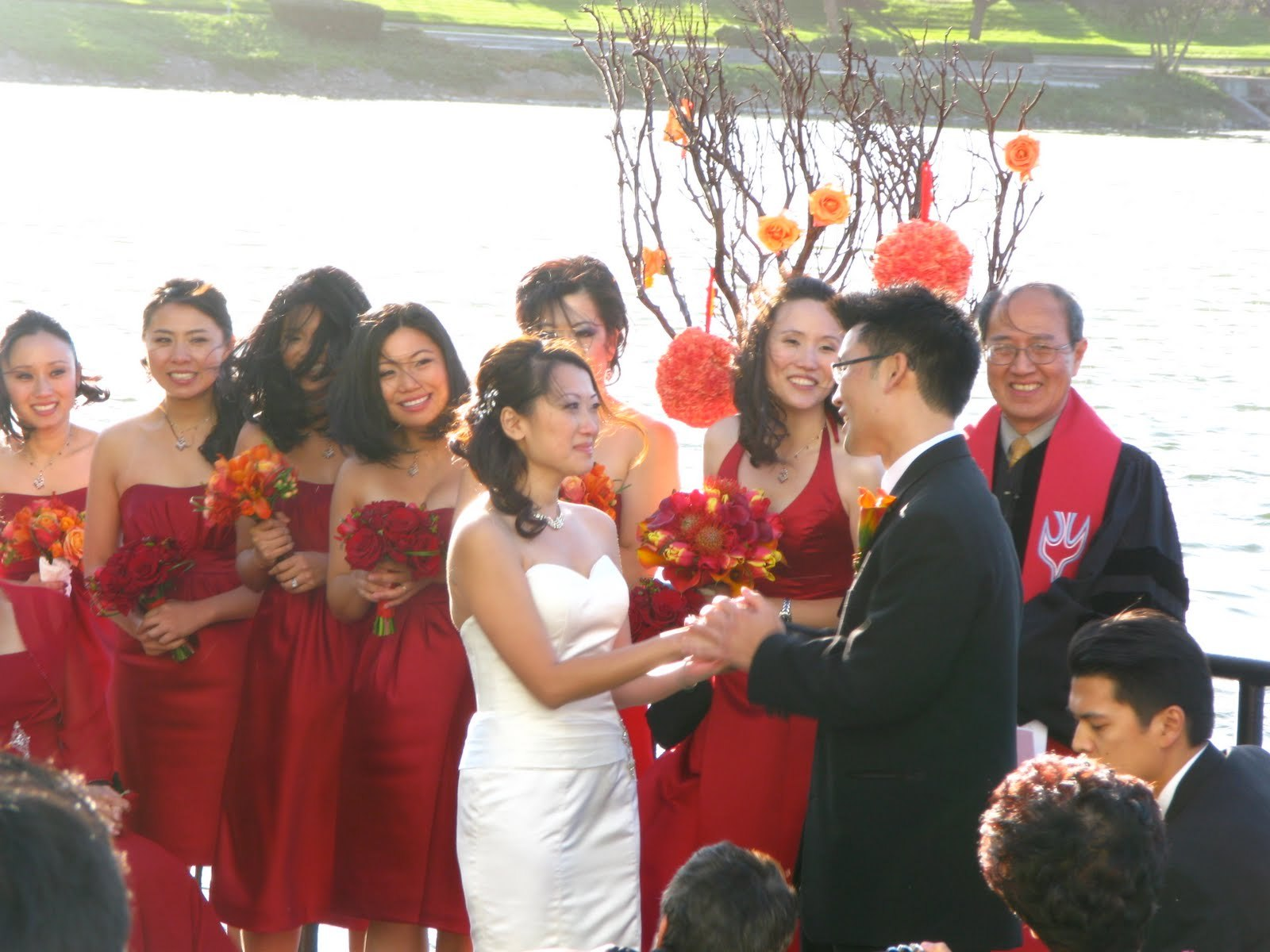 Beauty, Ceremony, Flowers & Decor, orange, red, Ceremony Flowers, Flowers, Hair