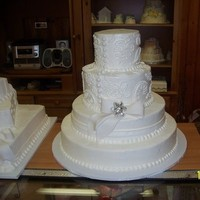 Cakes, white, cake, Square Wedding Cakes, Square, Wedding, Fondant, Lace, All, Bows, Pound, The town crier bakery