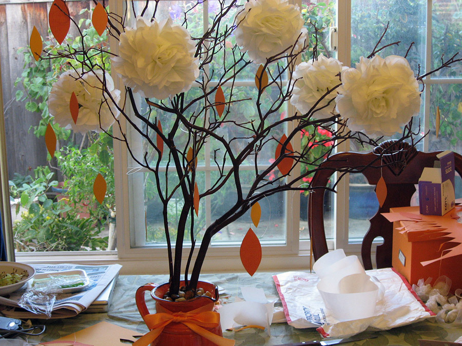 DIY, white, orange, Centerpiece, Pomander, Manzanita