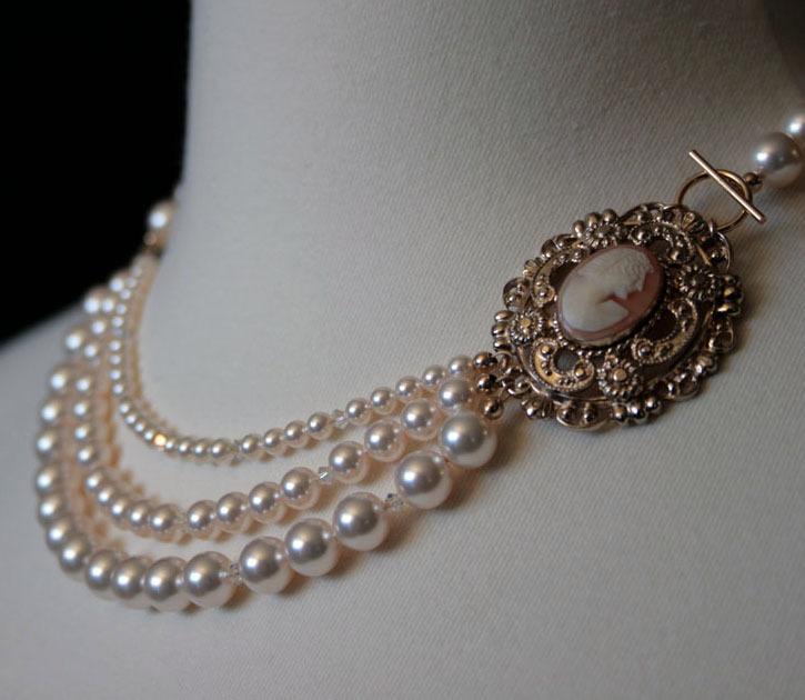 Jewelry, gold, Necklaces, Brooches, Vintage, Pearls, Necklace, Cream, Swarovski, Brooch, Beaded, Cameo, Mercury jane designs, Coro