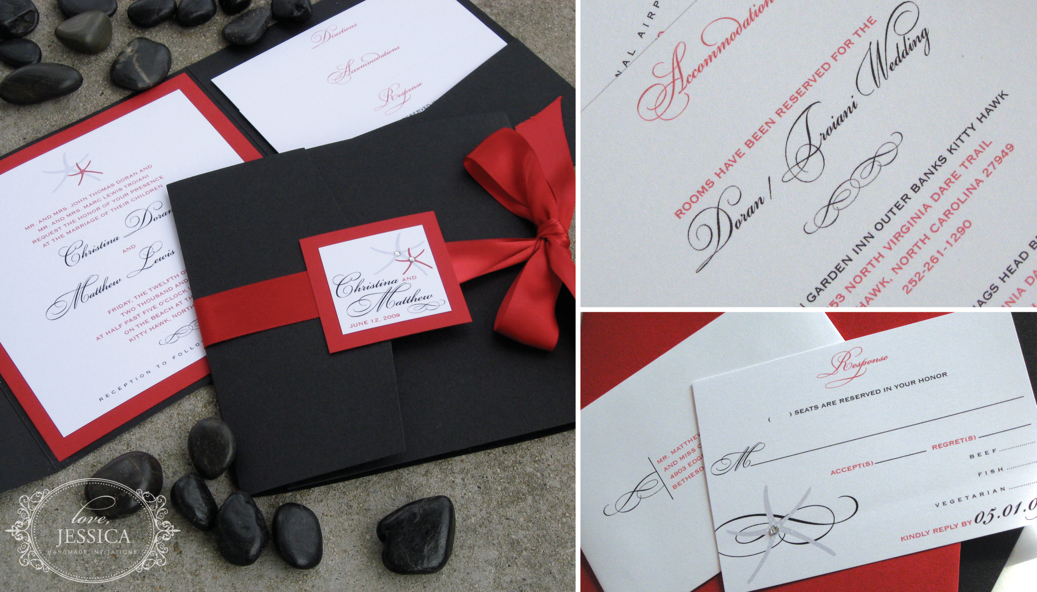 Stationery, red, black, invitation, Beach, Beach Wedding Invitations, Invitations, Starfish, Love, jessica handmade invitations