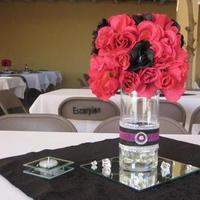 Reception, Flowers & Decor, pink, black, silver, Flowers, Rose