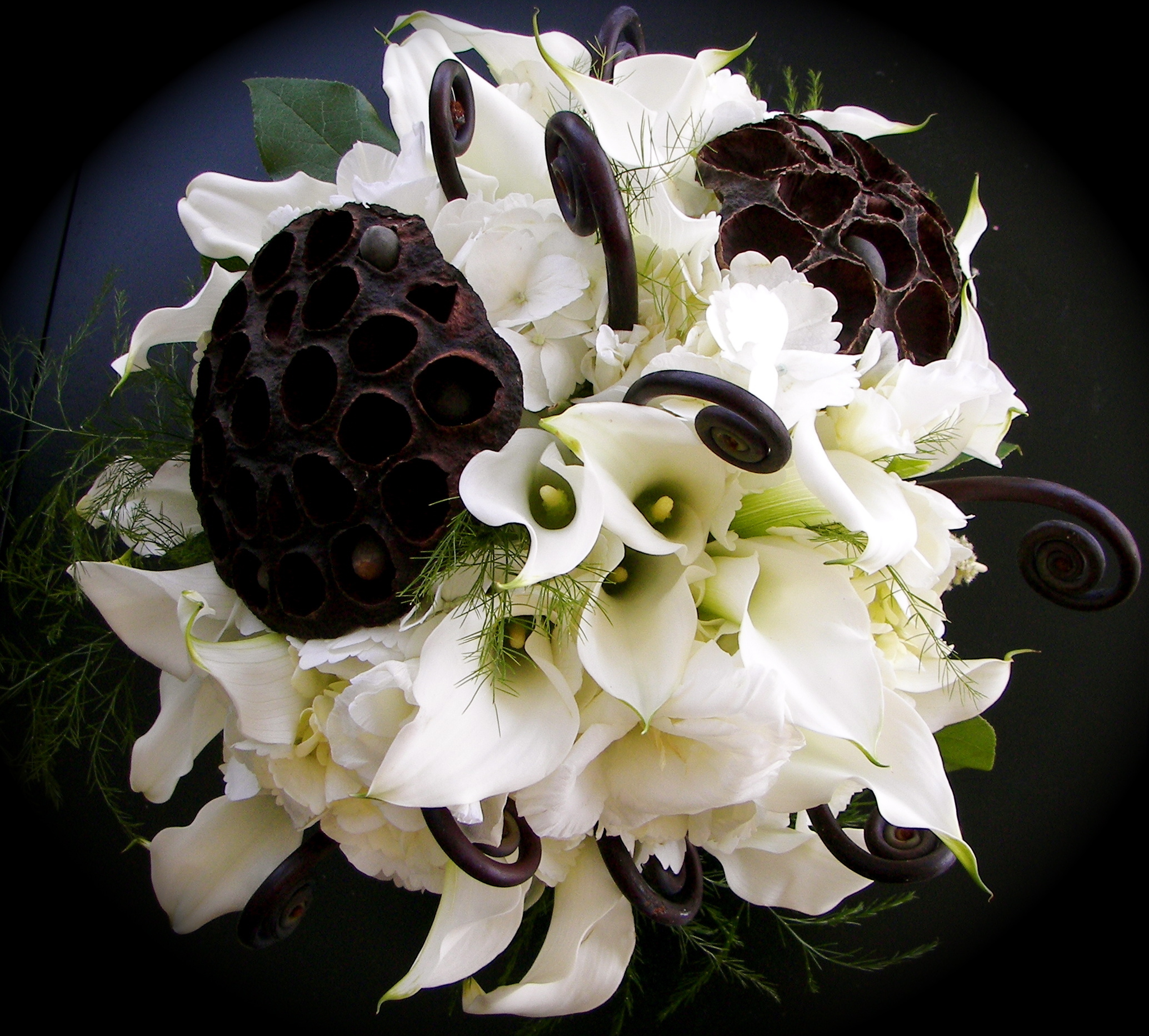 Flowers & Decor, white, brown, Flowers, Mini, Hydrangeas, Callas, Fiddlehead, Ferns