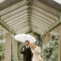 Beauty, Ceremony, Flowers & Decor, Wedding Dresses, Photography, Fashion, white, yellow, orange, pink, purple, blue, dress, Bride, Outdoor, Groom, Hair, Umbrella, And, Photo, Candid, Outside, Rain, Photolabel