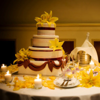 Reception, Flowers & Decor, Cakes, white, yellow, orange, pink, black, silver, gold, cake, Centerpieces, Candles, Flowers, Centerpiece, Cutting, San, Francisco, Productions, Studio, Lee, Lee studio productions