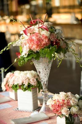Reception, Flowers & Decor, white, pink, silver, Centerpieces, Roses, Centerpiece, Contemporary, Chic, Girly, Paisley events