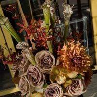 Reception, Flowers & Decor, white, pink, brown, gold, Centerpieces, Vintage, Flowers, Vintage Wedding Flowers & Decor, Roses, Centerpiece, Orchids, Art, Deco, Paisley events