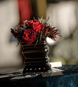 Reception, Flowers & Decor, red, black, silver, Centerpieces, Roses, Centerpiece, Of, Rock, House, Harley, Edgy, Goth, N, Roll, Blues, Paisley events