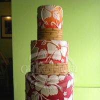 Cakes, Destinations, yellow, red, cake, Hawaii, Wedding, Tropical, Cakelava