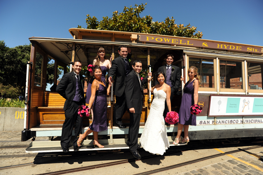pink, purple, Bride, Wedding, Party, Car, Cable, San, Francisco, Events by karen lee, Pier, Wharf