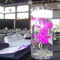Reception, Flowers & Decor, white, purple, black, Centerpieces, Flowers, Inman event planning