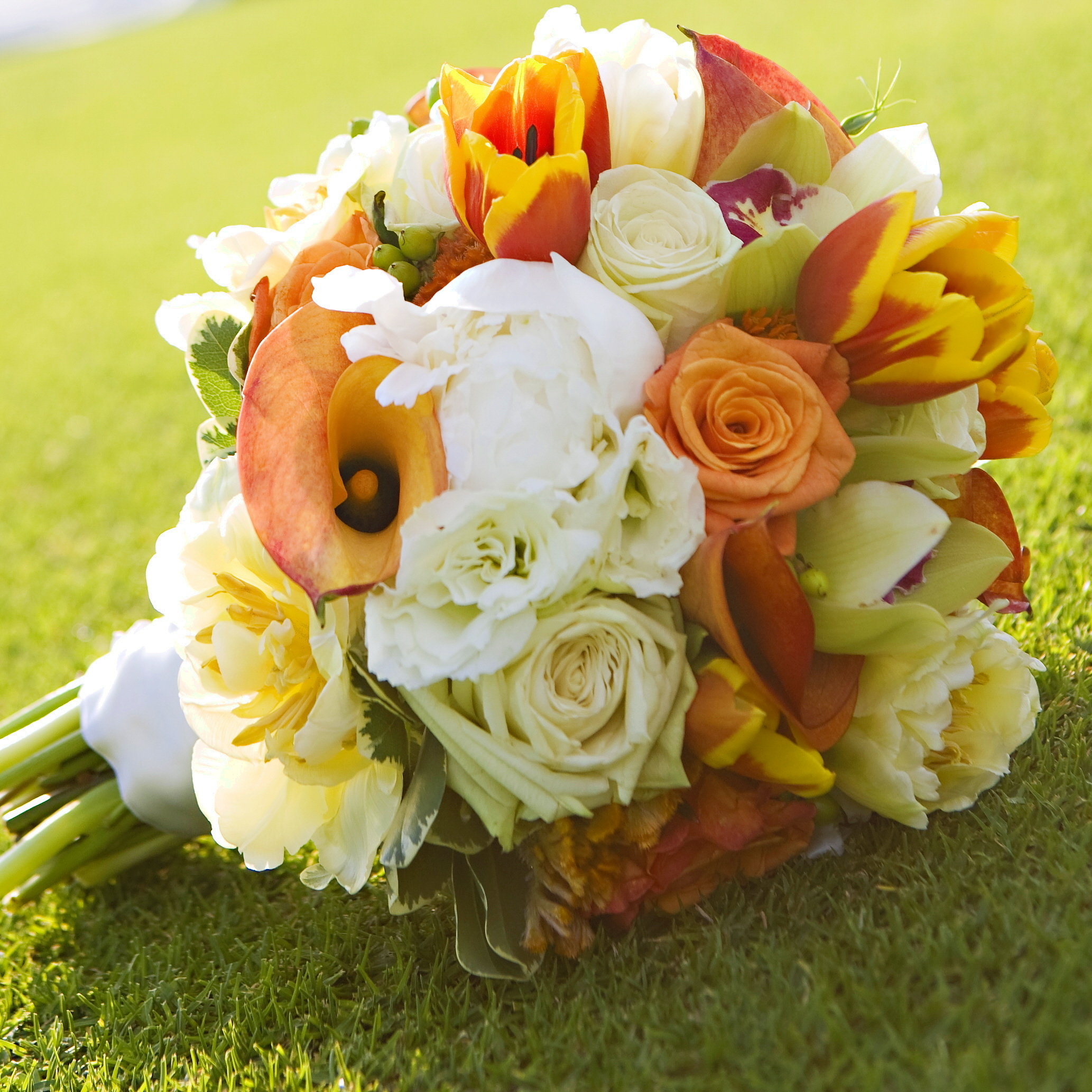 Yellow Orange Bridal Bouquet And White Photo By Bride Bloom Wedding