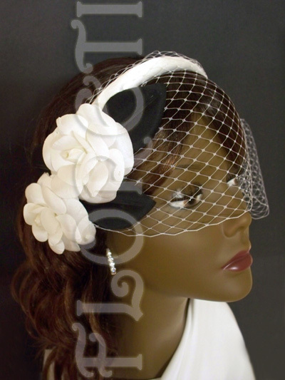 Beauty, Ceremony, Flowers & Decor, Jewelry, Bridesmaids, Bridesmaids Dresses, Wedding Dresses, Veils, Fashion, white, black, dress, Ceremony Flowers, Bridesmaid Bouquets, Flowers, Veil, Hair, Bridal, Birdcage veil, Floreti, Camellia, Wedding headwear, Flower Wedding Dresses
