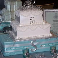 Cakes, white, blue, silver, cake, Table, Tiffany