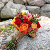 yellow, orange, red, green, brown, Bride Bouquets, Fall Wedding Flowers & Decor, Rustic Wedding Flowers & Decor