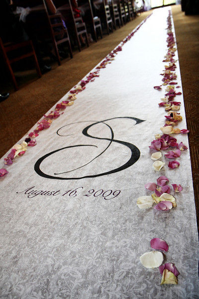 Ceremony, Inspiration, Flowers & Decor, white, purple, black, Ceremony Flowers, Flowers, Monogram, Board, Runner, Julie wilson