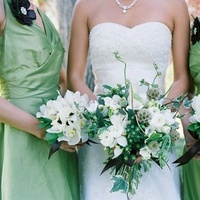 Flowers & Decor, Bridesmaids, Bridesmaids Dresses, Fashion, white, green, Bridesmaid Bouquets, Flowers, bridal bouquet, Bridesmaid bouquet, The blue orchid, Flower Wedding Dresses