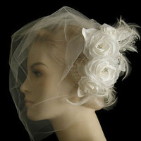 Beauty, Wedding Dresses, Fashion, white, dress, Hair, Birdcage veil, Hairpiece, Hair flower, Bridal comb, Distinctive veils accessories