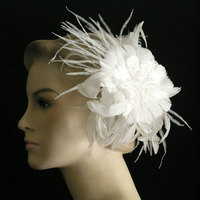Beauty, Inspiration, Flowers & Decor, Wedding Dresses, Fashion, white, dress, Flowers, Hair, Board, Fascinator, Hair flower, Distinctive veils accessories, Feather hair flower, Bridal hair flower, Wedding hair flower, Flower Wedding Dresses