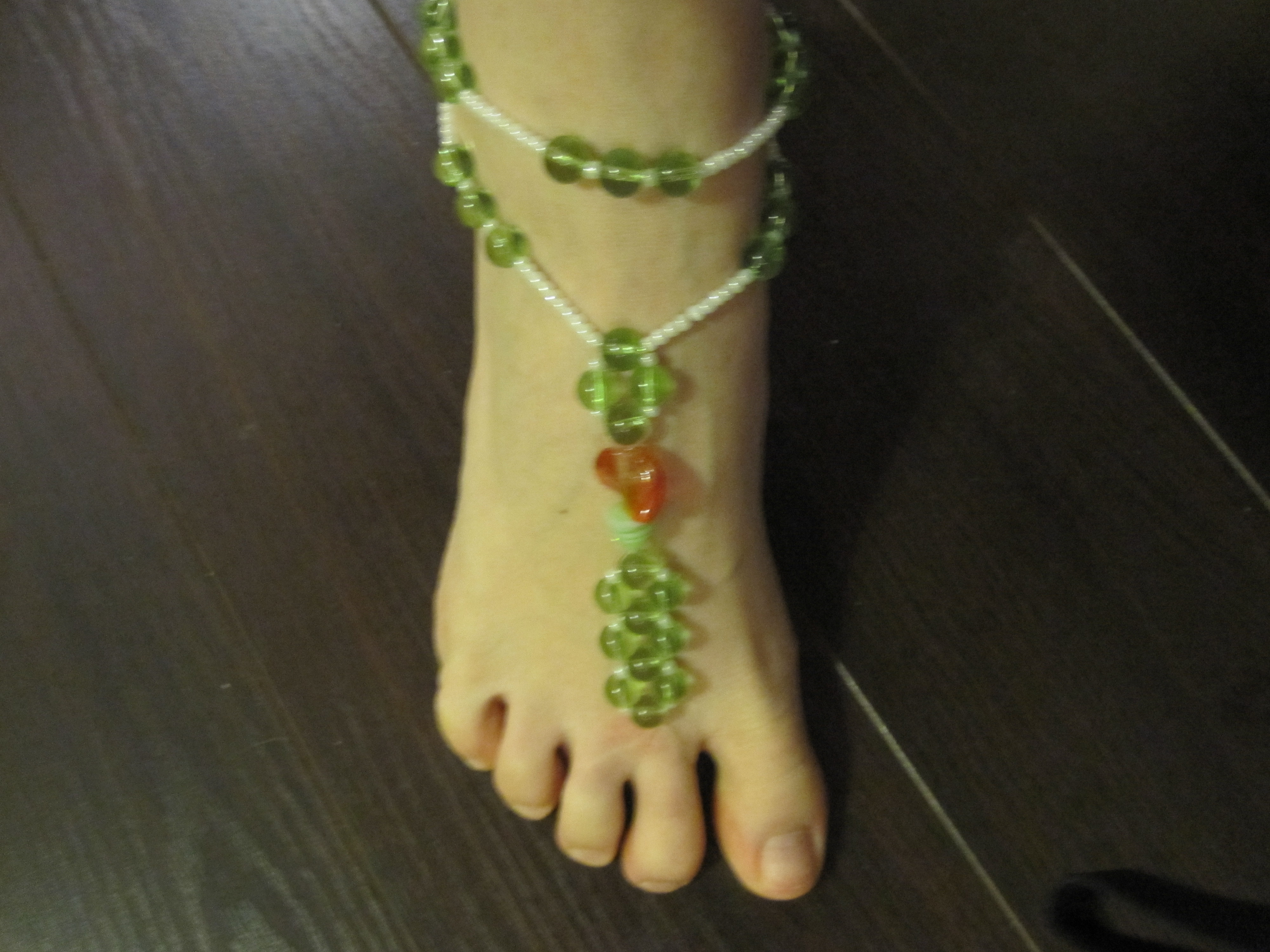 orange, green, Sandal, Barefoot