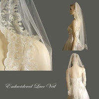 Beauty, Wedding Dresses, Fashion, white, dress, Hair, Wedding veil, Distinctive veils accessories, Wedding mantilla, Lace veil, Embroidered veil