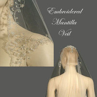 Beauty, Wedding Dresses, Fashion, dress, Hair, Wedding veil, Distinctive veils accessories, Wedding mantilla, Lace veil, Beaded veil