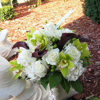 Flowers & Decor, white, purple, green, Bride Bouquets, Flowers, Roses, Bouquet, Calla, Lilies, Bridal, Orchids, Hydrangea, The flower boutique formerly buds from the heart