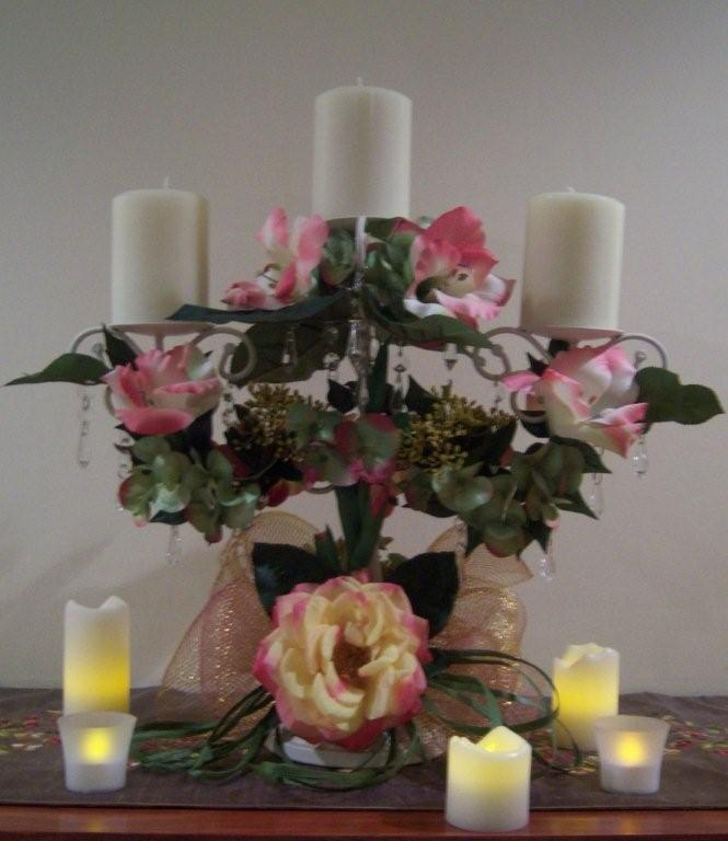 Ceremony, Reception, Flowers & Decor, white, yellow, orange, pink, red, purple, blue, green, brown, silver, gold, Ceremony Flowers, Flowers, Silk flowers centerpieces with candles