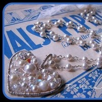 Flowers & Decor, Jewelry, silver, Necklaces, Bride, Flower, Girl, Wedding, Custom, Bridesmaid, Necklace, Pearl, Heart, Order, Stacys designs 88, Wirewrap
