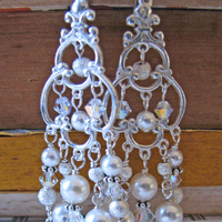 Jewelry, silver, Earrings, Bride, Groom, Wedding, Bridesmaid, Of, Mother, Long, Pearls, The, Chandelier, Stacys designs 88