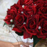 Flowers & Decor, white, red, silver, Bride Bouquets, Bride, Flowers, Bouquet, Rose, Crystal, Keepsake silk flowers