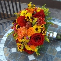 Flowers & Decor, Bridesmaids, Bridesmaids Dresses, Fashion, yellow, orange, red, brown, gold, Bride Bouquets, Bridesmaid Bouquets, Flowers, Bouquet, Bridal, Heaven scent florals, Flower Wedding Dresses