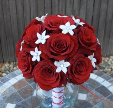 Ceremony, Flowers & Decor, Bridesmaids, Bridesmaids Dresses, Fashion, white, red, Ceremony Flowers, Bridesmaid Bouquets, Flowers, Roses, Stephanotis, And, Heaven scent florals, Flower Wedding Dresses