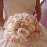Ceremony, Reception, Flowers & Decor, Bridesmaids, Bridesmaids Dresses, Fashion, white, pink, silver, Ceremony Flowers, Bridesmaid Bouquets, Flowers, bridal bouquet, Empora floral artistry, ivory and pink roses, blushing bride proteas, Flower Wedding Dresses