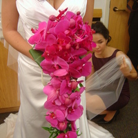 Ceremony, Reception, Flowers & Decor, Bridesmaids, Bridesmaids Dresses, Fashion, purple, green, Ceremony Flowers, Bridesmaid Bouquets, Flowers, Tropical, Empora floral artistry, Cascading orchid bouquet, Flower Wedding Dresses
