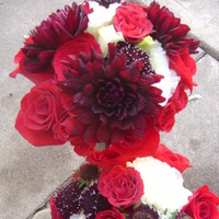 Ceremony, Reception, Flowers & Decor, Bridesmaids, Bridesmaids Dresses, Fashion, white, red, burgundy, black, Ceremony Flowers, Bridesmaid Bouquets, Flowers, Bridesmaid, Gothic, Red roses, Empora floral artistry, burgundy dahlias, punk rock, Flower Wedding Dresses