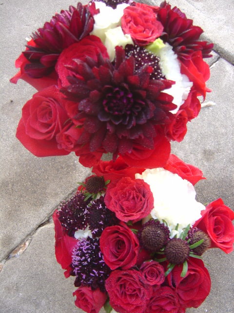 Ceremony, Reception, Flowers & Decor, Bridesmaids, Bridesmaids Dresses, Fashion, white, red, burgundy, black, Ceremony Flowers, Bridesmaid Bouquets, Flowers, Bridesmaid, Gothic, Red roses, Empora floral artistry, burgundy dahlias, punk rock, Flower Wedding Dresses
