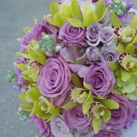 Ceremony, Reception, Flowers & Decor, Bridesmaids, Bridesmaids Dresses, Fashion, purple, green, Ceremony Flowers, Bridesmaid Bouquets, Flowers, Empora floral artistry, Bridal bouquet lavendar roses, green cymbidiums orchids, Flower Wedding Dresses