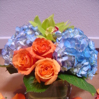 Ceremony, Reception, Flowers & Decor, Bridesmaids, Bridesmaids Dresses, Fashion, orange, blue, green, brown, Ceremony Flowers, Bridesmaid Bouquets, Centerpieces, Flowers, Roses, Centerpiece, Low, Orchids, Hydrangeas, Empora floral artistry, sqare glass cubes, Flower Wedding Dresses