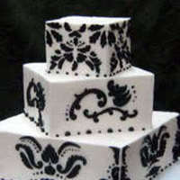 cake, white, black, Damask, Cakes