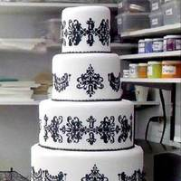 Cakes, white, black, cake, Damask