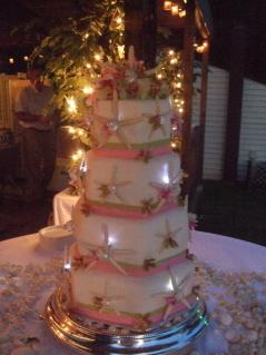Cakes, white, pink, green, cake, Beach, Starfish, Theme, Pool, Hexagon