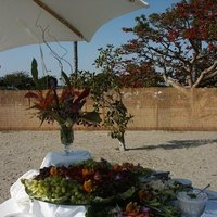 Reception, Flowers & Decor, white, orange, Beach, Beach Wedding Flowers & Decor, Fruit, Cheese, Gourmet caterers