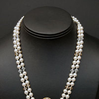 Jewelry, white, gold, Necklaces, Vintage, Pearls, Necklace, Rhinestone, Filigree, Inspired, Multi, Double, Strand