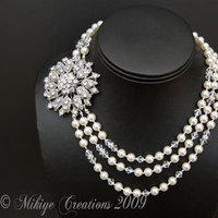 Jewelry, white, silver, Necklaces, Vintage, Pearls, Necklace, Rhinestone, Inspired, Multi, Strand, Triple