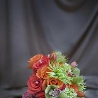 Ceremony, Flowers & Decor, Bridesmaids, Bridesmaids Dresses, Fashion, orange, green, Ceremony Flowers, Bride Bouquets, Bridesmaid Bouquets, Spring, Flowers, Bouquet, Bridesmaid, Pearls, Bright, Coral, Crystals, Lavishly luxe floral and event design, Spring Wedding Dresses, Flower Wedding Dresses