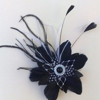 Beauty, Flowers & Decor, black, Flowers, Hair, Fascinator
