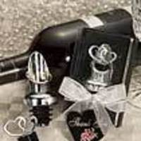 Favors & Gifts, black, silver, Favors, Wedding, Wine, Heart, Stopper, Pourer