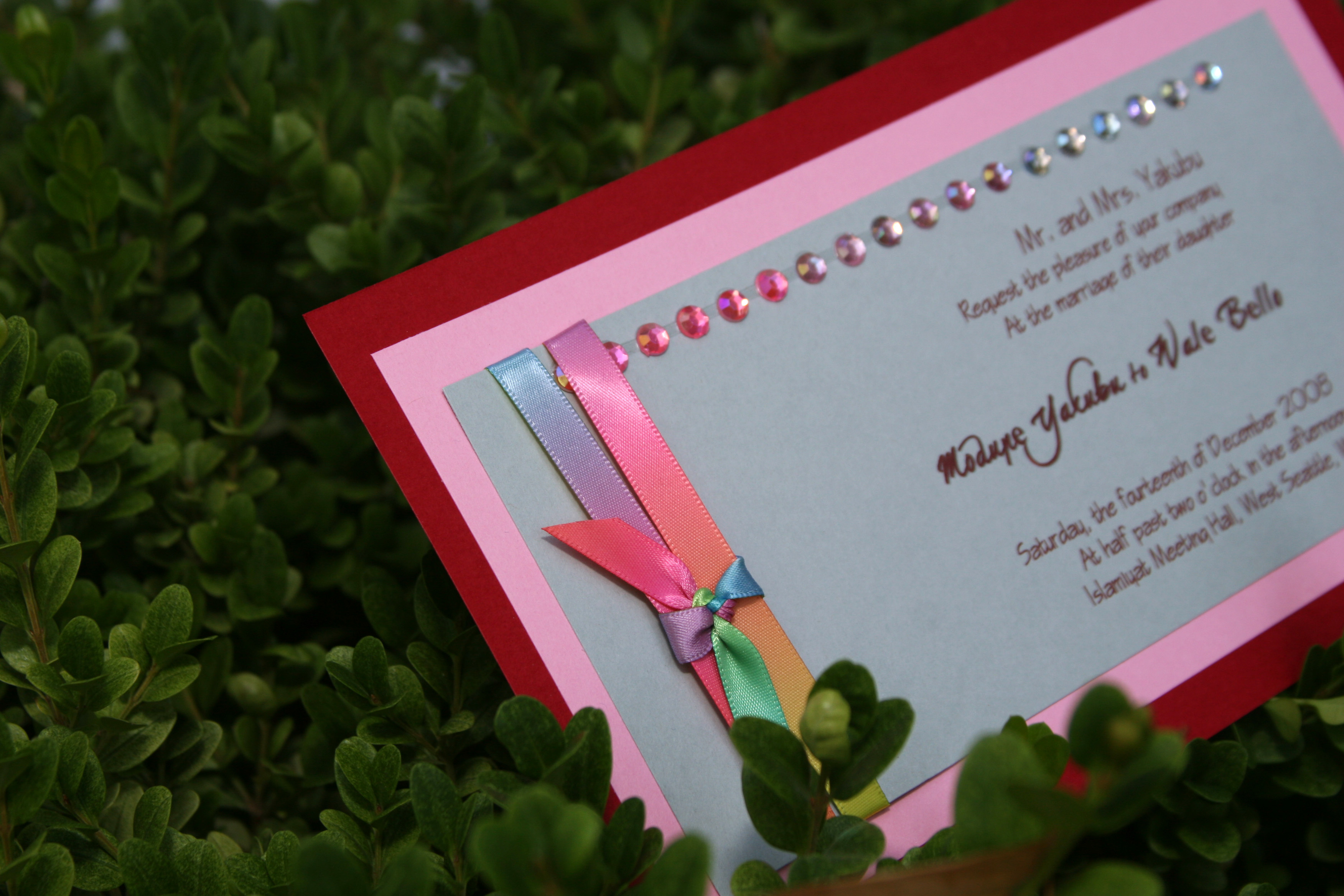 Stationery, white, yellow, orange, pink, red, purple, blue, green, brown, silver, Invitations, Ijorere the invitation